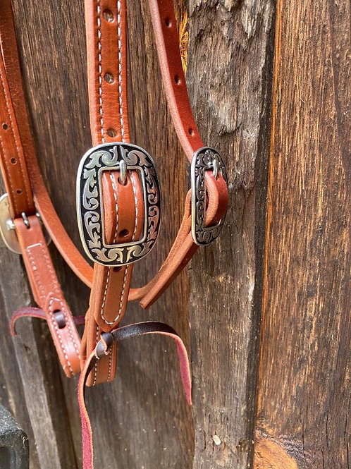 """3/4"""" Double Stitched 2 Buckle Browband"""