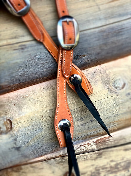 Natural Double Stitched slip ear with matching stainless buckles and conchos
