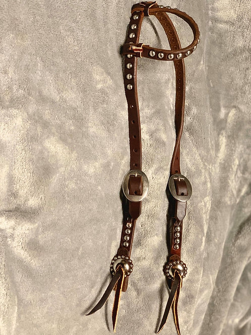 Slip Ear Headstall with Dots and Conchos
