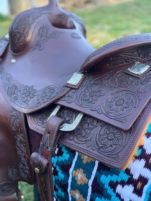 """New 15 3/4"""" Don Rich Reiner Saddle w/ updated conchos & dee ring"""