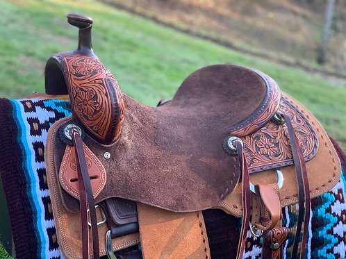 "New 16"" Don Rich Ranch Cutter Saddle w/ Buckstitch & Chocolate accents"