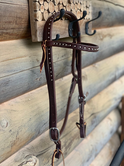 Studded silver buckle Browband