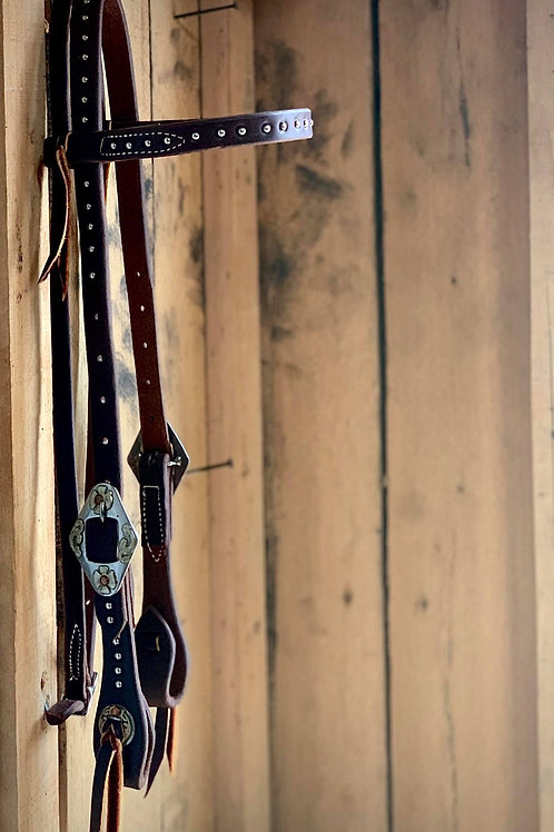 Browband Headstall with Diamond Buckles and Dots