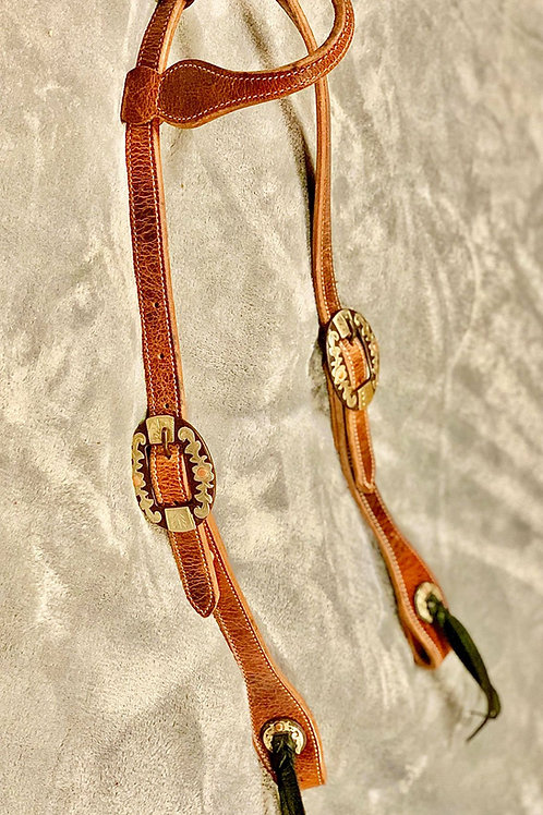 One Ear Wildebeest Headstall, Rust Iron Buckles and Conchos