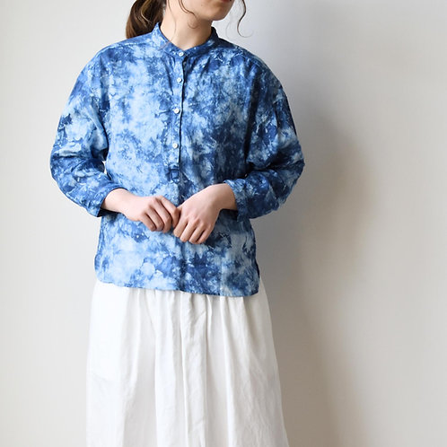 Season off:籠染めフレンチリネンバンドカラーシャツ