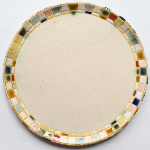 撫菜花工藝 : モザイクタイル模様6寸平皿