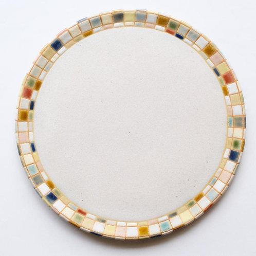 撫菜花工藝:モザイクタイル8寸平皿