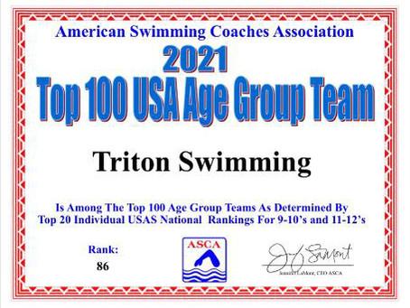 TRITON IS AMONG TOP 100 AGE GROUP TEAMS!