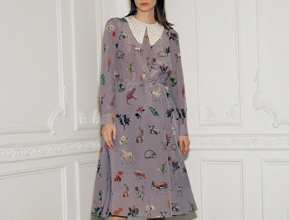 Серое шёлковое платье с воротником