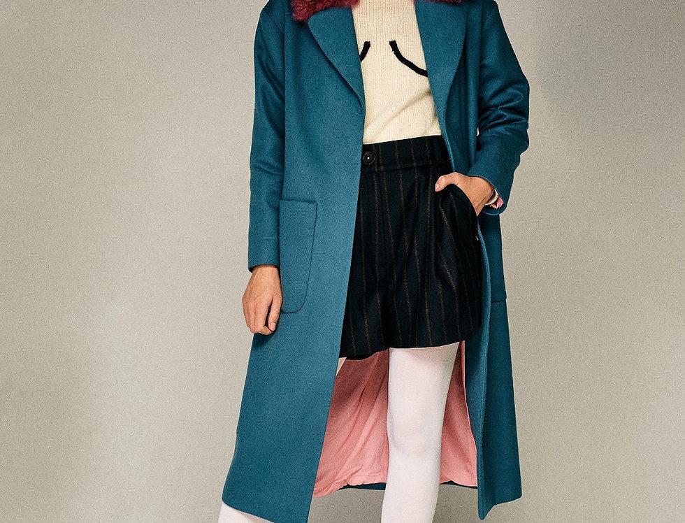 Бирюзовое пальто с воротником из калгана