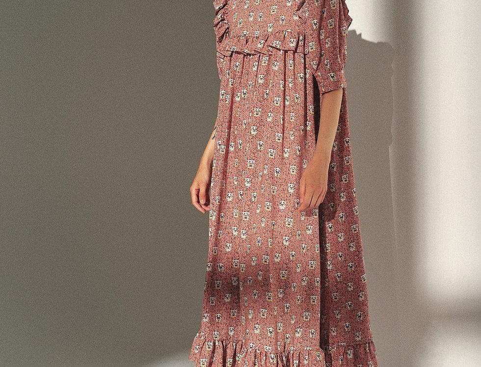 Платье из вискозы с кошечками