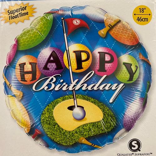 Golf Happy Birthday Foil Balloon