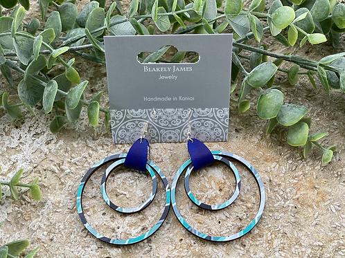 Teal Diamond Double Hoop Earrings -Preorder