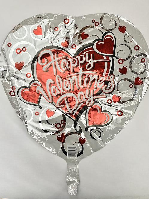 White HVD Silver Swirl Heart Foil Balloon
