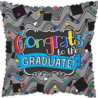 Grad Cap Confetti Square Foil Helium Balloon