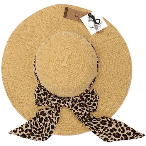 CC Beanie Leopard Pull Through Sash Sunhat