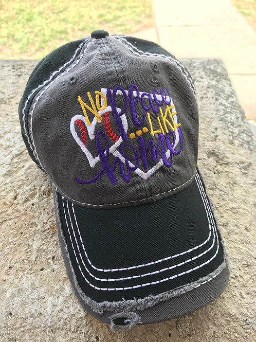 No place like home purple and gold Distressed cap