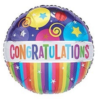 Congratulations Stripes and Balloons Foil Helium Balloon