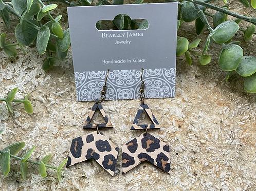Leopard Broken Arrow Earrings -Preorder
