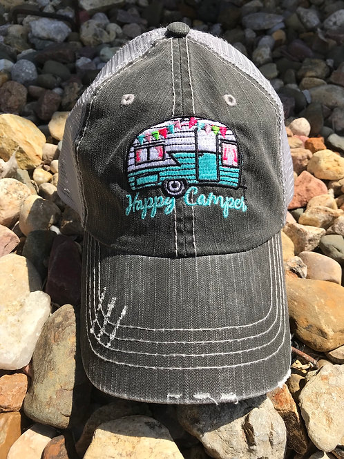 Happy Camper Distressed Trucker Cap