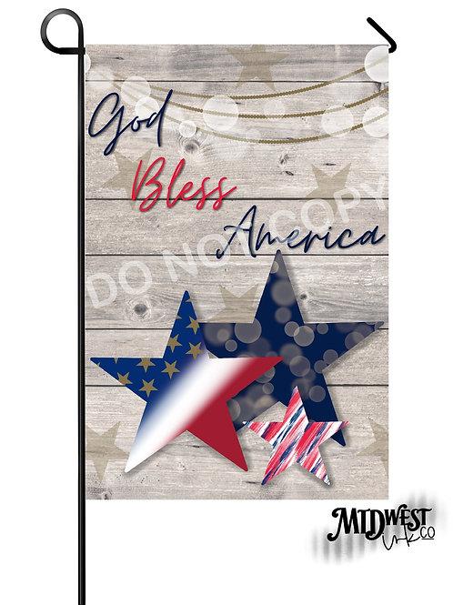 God Bless America Stars Garden Flag