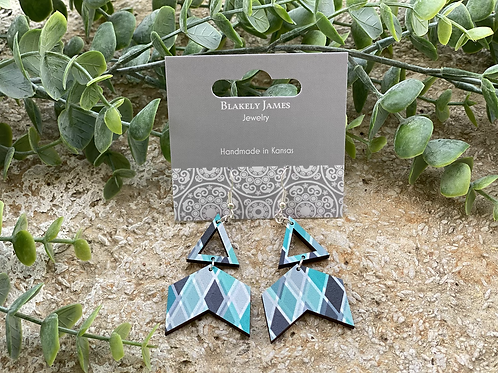 Teal Diamond Broken Arrow Earrings  - Preorder