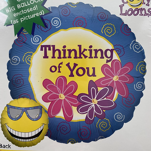 Thinking of You Floral with Cool Sun on Back Foil Balloon