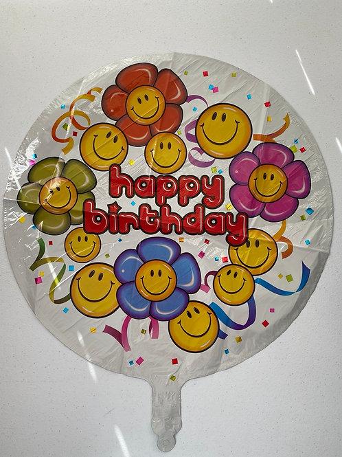 Smiley Face  Happy Birthday Foil Balloon