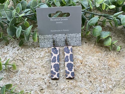 Tan Leopard  Bar Earrings -Preorder