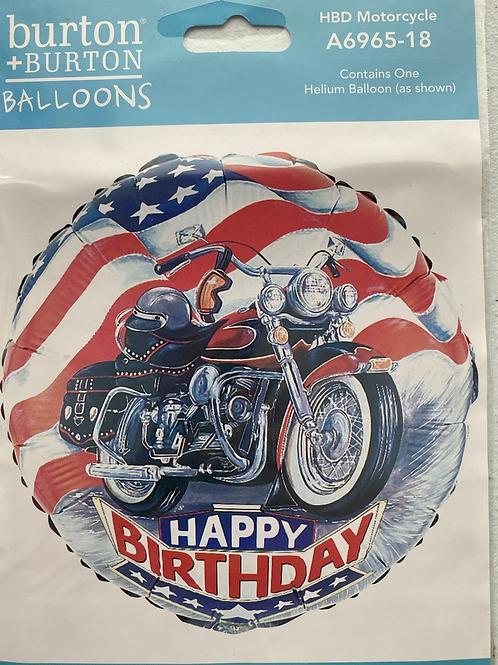 Motorcycle Happy Birthday Foil Balloon