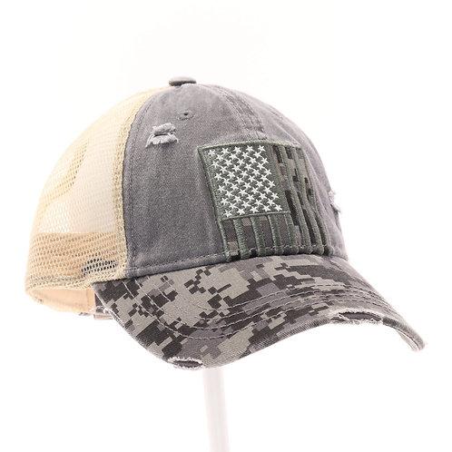 CC Beanie USA Flag Digital Camouflage Mesh Back High Pony CC Ball Cap