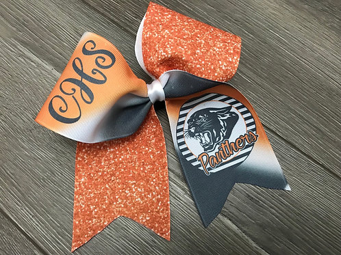 Panther Cheer Bow Orange Faux Glitter