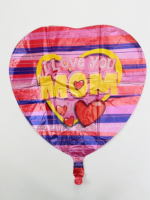 I Love You Mom Stripe Foil Balloon