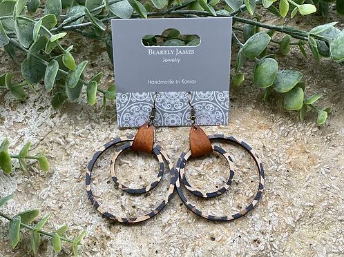 Tan Leopard Double Hoop Brown Leather  Earrings -Preorder