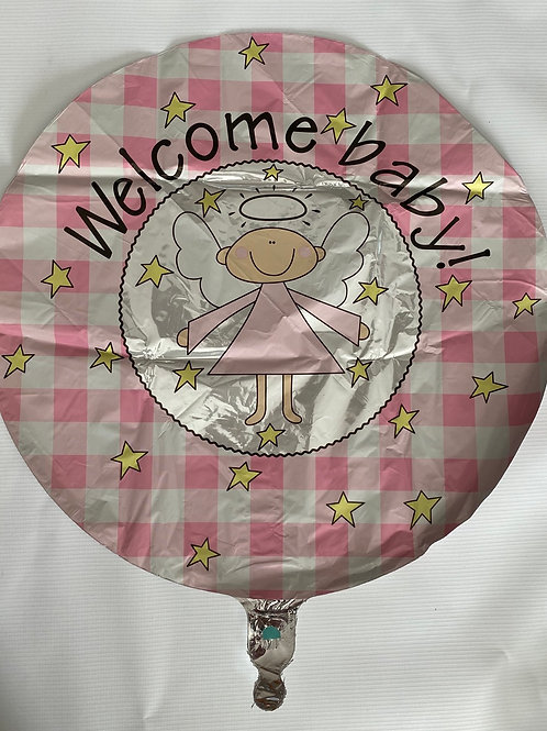 Welcome Sweet Angel Pink Foil Helium Balloon