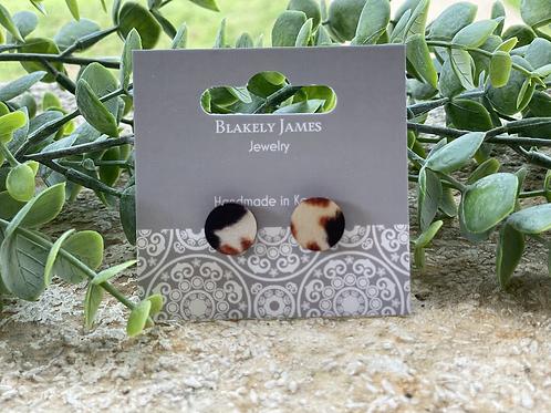 Cow Hide Printed  Stud Earrings -Preorder
