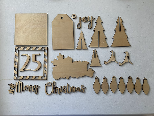 Merry Christmas Tiered Tray Set-BLANK