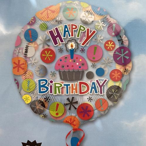 Clear HBD Cupcake Foil Balloon