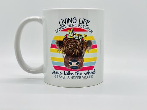 Livin Life Cow Ceramic Mug