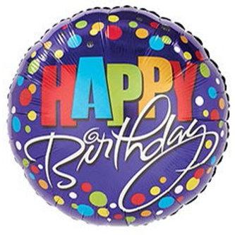 Happy Birthday Dots Blue Foil Balloon