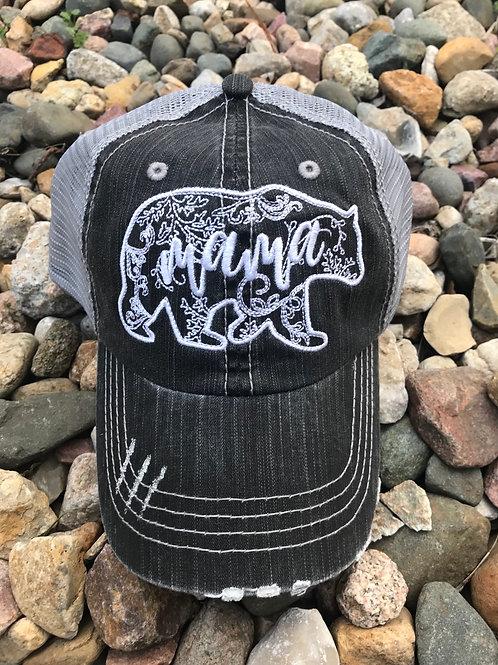 Mama Bear Distressed Trucker Cap
