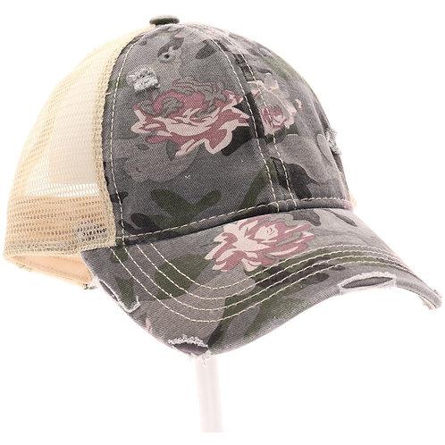 CC Beanie Floral Camouflage Mesh Back High Pony CC Ball Cap