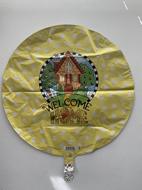 Welcome Home Yellow Polka Dotted Foil Balloon