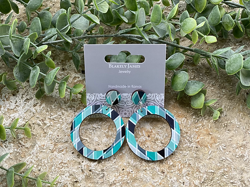 Teal Diamond Pattern Round with Post  Earrings -Preorder