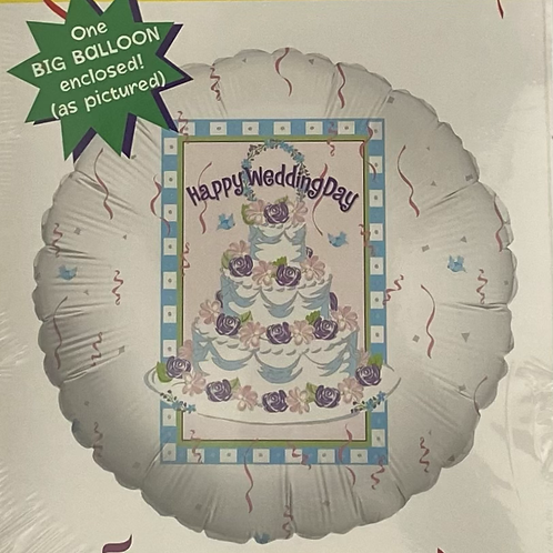 Happy Wedding Day Cake Foil Helium Balloon
