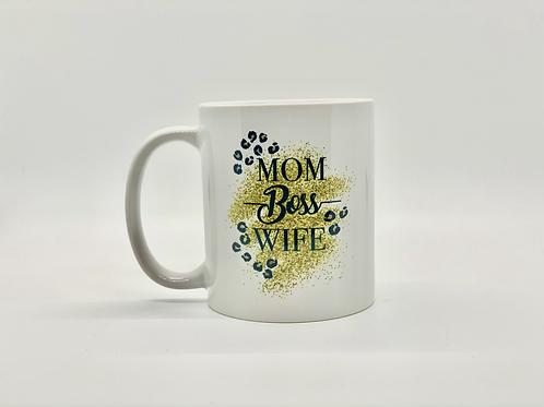 Mom Boss Wife Leopard Glitter Ceramic Mug