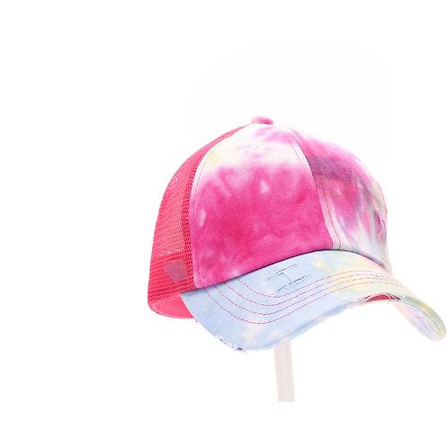 CC Beanie Tie Dye Criss-Cross Mesh High Ponytail CC Ball Cap