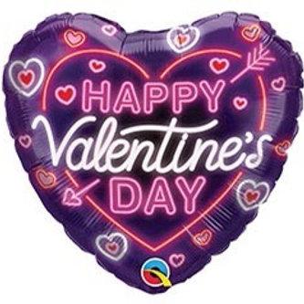 Neon Glow Valentine's Heart Foil Balloon