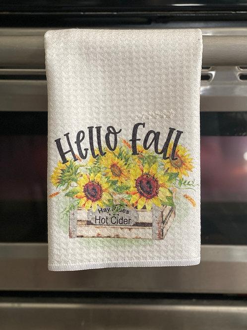 Hello Fall Waffle Towel