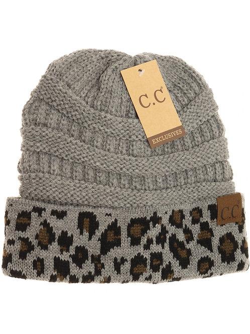 CC Leopard Print Cuff Beanie